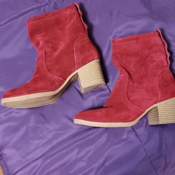 Burgundy suede anklet boots